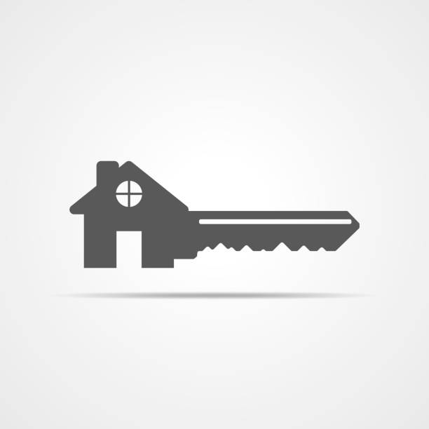 Estate concept with house and key. Vector illustration Silhouette of key with house. House key icon. Vector illustration. Estate concept with house and key. house key stock illustrations