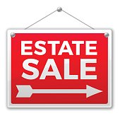 Estate sale sign with arrow. EPS 10 file. Transparency effects used on highlight elements.