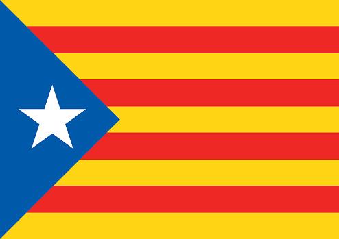 Estelada Blava Flag Background Catalonia Referendum — стоковая векторная графика и другие изображения на тему Catalan Independence Movement