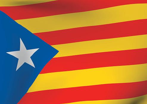 Estelada Blava Flag Waving Catalonia Indenpendentism Symbol — стоковая векторная графика и другие изображения на тему Catalan Independence Movement