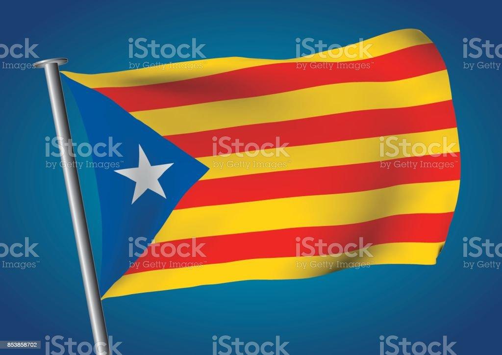 estelada flag waving on the sky catalona independence vector art illustration