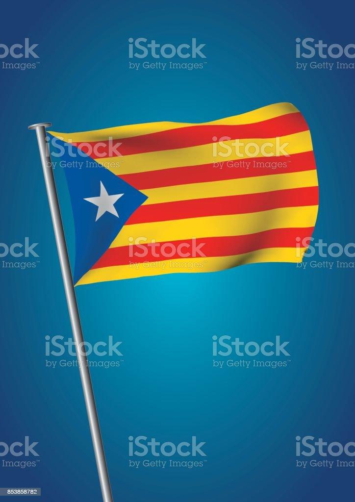 estelada flag waving on the sky catalonia referendum vertical vector art illustration