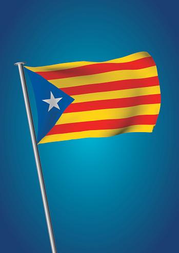 Estelada Flag Waving On The Sky Catalonia Referendum Vertical — стоковая векторная графика и другие изображения на тему Catalan Independence Movement