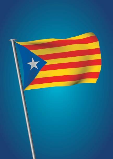 estelada bayrak sallayarak gökyüzü catalonia referandum dikey - lleida stock illustrations