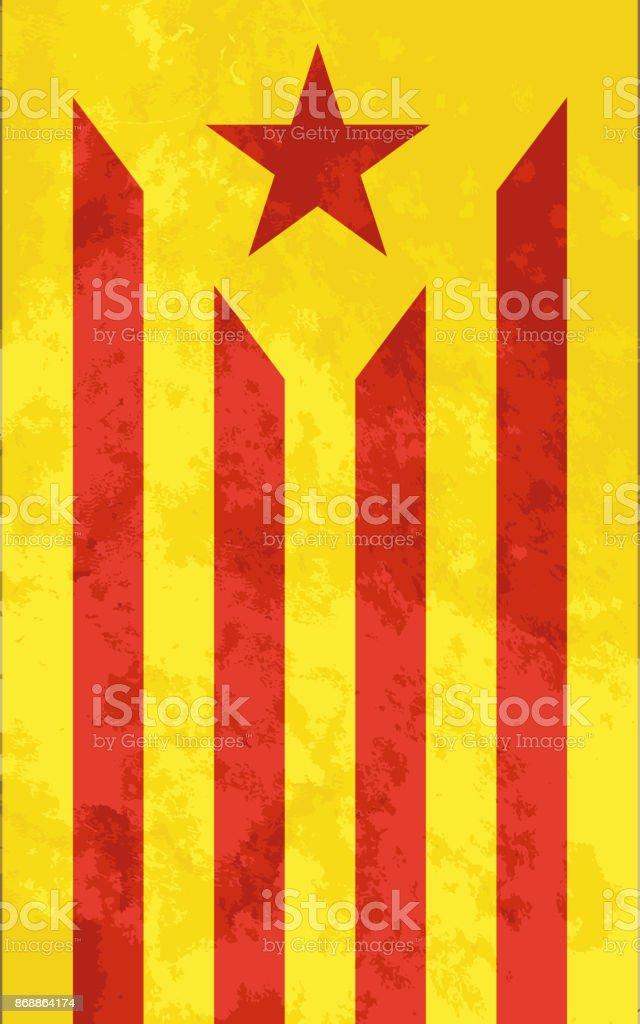 Estelada roja, bright catalonia flag with grunge texture vector art illustration