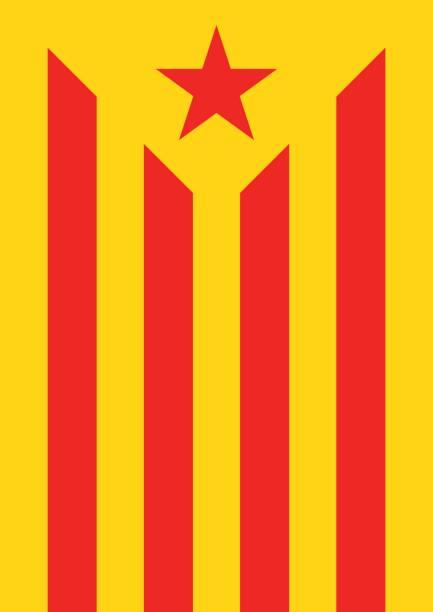 estelada vermella bayrak bayrak catalonia bağımsızlık arka plan - lleida stock illustrations