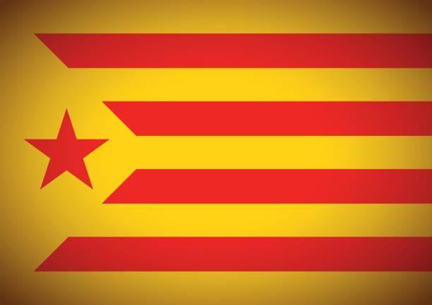 estelada vermella bayrak catalonia independentism referandum arka plan - lleida stock illustrations