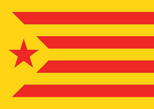 Estelada Vermella Flag Background Catalonia Referendum — стоковая векторная графика и другие изображения на тему Catalan Independence Movement