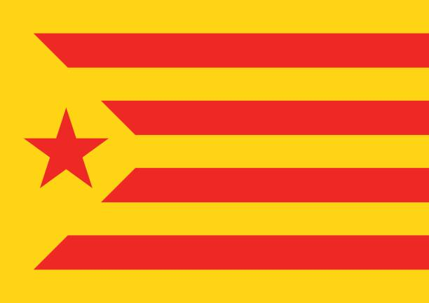 estelada vermella bayrak catalonia referandum arka plan - lleida stock illustrations