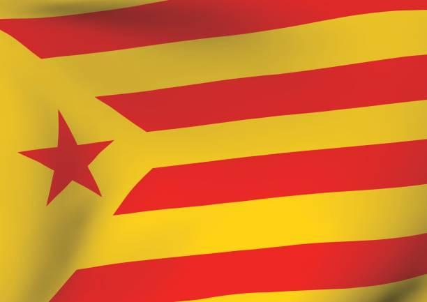 estelada vermella bayrak sallayarak catalonia independentism sembolü - lleida stock illustrations