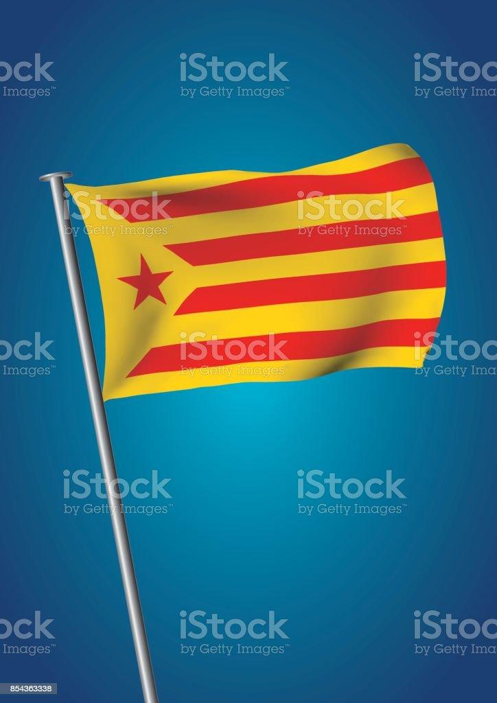 estelada vermella flag waving on the sky catalonia referendum vertical vector art illustration
