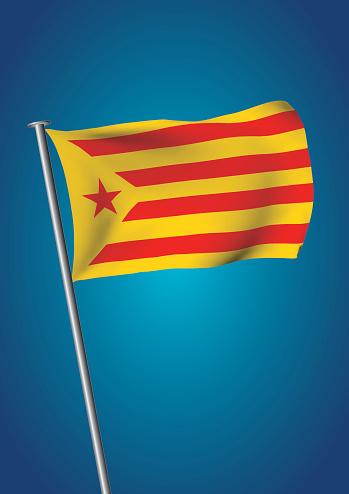 Estelada Vermella Flag Waving On The Sky Catalonia Referendum Vertical — стоковая векторная графика и другие изображения на тему Catalan Independence Movement