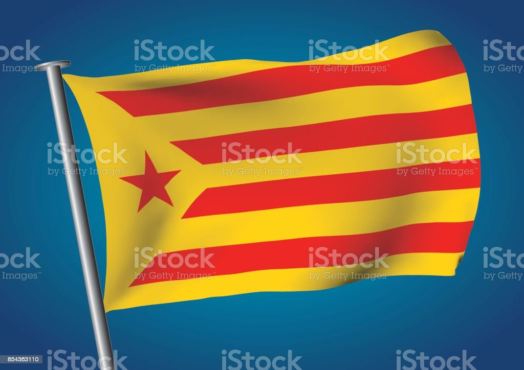 estelada vermella or groga flag waving on the sky catalona independence vector art illustration