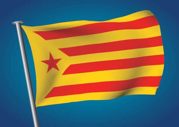 estelada vermella veya groga bayrak sallayarak üzerinde gökyüzü catalona bağımsızlık - lleida stock illustrations
