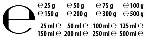Estimated e sign (e-mark) with correct dimensions as per EU Directive 71/316. Versions with commonly used weights and volumes for food and cosmetics label. vector art illustration