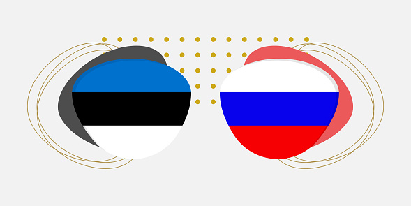 Estonia and Russia flags. Estonian and Russian national symbols with abstract background and geometric shapes. Vector illustration.