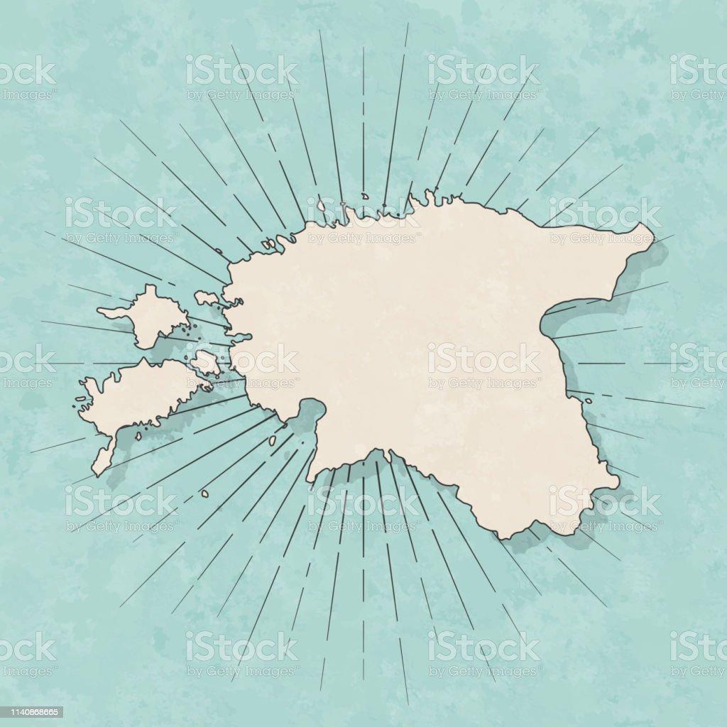 Map of Estonia in a trendy vintage style. Beautiful retro...