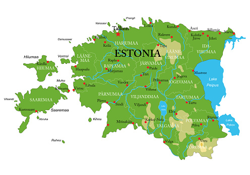 Estonia physical map