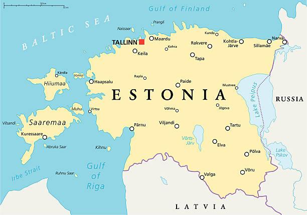 estland politische karte - ostsee stock-grafiken, -clipart, -cartoons und -symbole