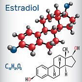 Estradiol E2 (estrogen female sex hormone ) - structural chemical formula and molecule model