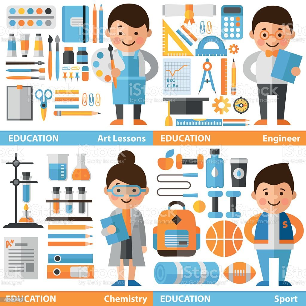 et of characters and icons on education theme. royalty-free et of characters and icons on education theme stock vector art & more images of adult