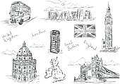 vector - set of England  fragment - isolated on background