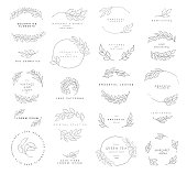 Leaf symbols, s, icons and signs collection. Set of floral design elements.