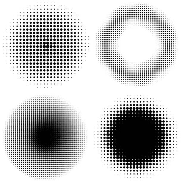 et of vintage halftone dots vector background. abstract dotted stippling texture. - spotted stock illustrations