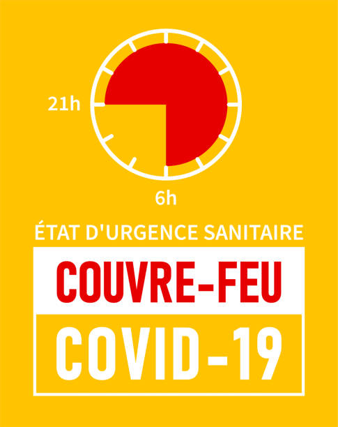 Etat d'urgence sanitaire, Couvre-feu: State of health emergency, curfew in french language. Yellow banner - curfew from 21h to 6h Etat d'urgence sanitaire, Couvre-feu: State of health emergency, curfew in French language. Yellow banner - curfew from 21h to 6h feu stock illustrations