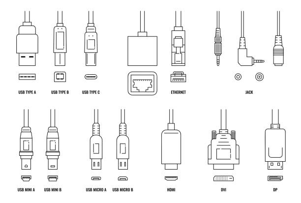 USB, HDMI, ethernet and other cable and port icon set with plugs USB, HDMI, ethernet and other cable and port icon set isolated on white background. Line icons of connection plugs and sockets - flat vector illustration. cable tv stock illustrations