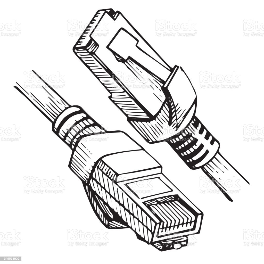 ethernet connector rj45 internet cable in sketch style