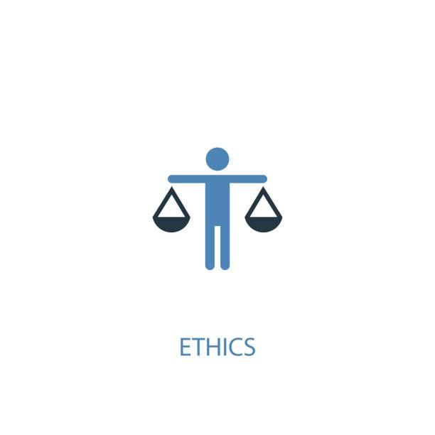 illustrazioni stock, clip art, cartoni animati e icone di tendenza di ethics concept 2 colored icon. simple blue element illustration. ethics concept symbol design. can be used for web and mobile ui/ux - dilemma morale