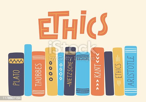 Ethics. Hand drawn moral philosophy books with lettering.