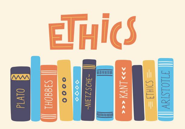 stockillustraties, clipart, cartoons en iconen met ethiek. - boekenkast