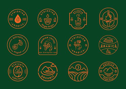 Ethiopia coffee line badge design