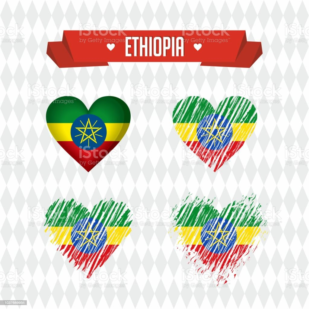 ethiopia collection of four vector hearts with flag heart silhouette