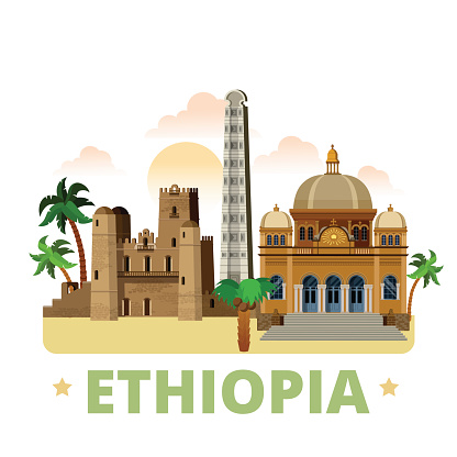 Ethiopia country flat cartoon style historic sight showplace web site vector illustration. World vacation travel Africa collection. Menelik II Mausoleum in Addis Ababa Fasil Ghebbi Obelisk of Axum.