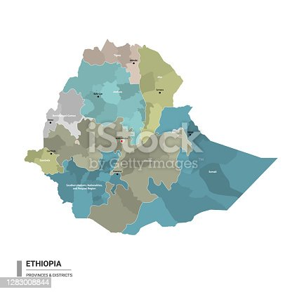 istock Ethiopia higt detailed map with subdivisions. 1283008844