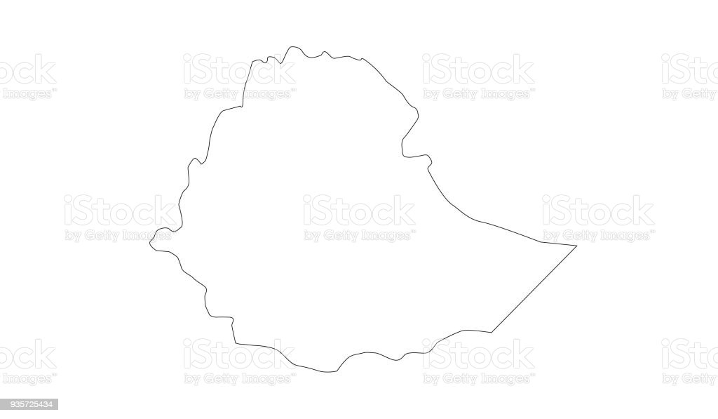 Ethiopia map vector art illustration
