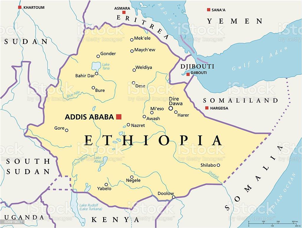 Äthiopien politische Karte – Vektorgrafik