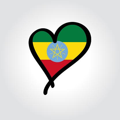 Ethiopian flag heart-shaped hand drawn logo. Vector illustration.