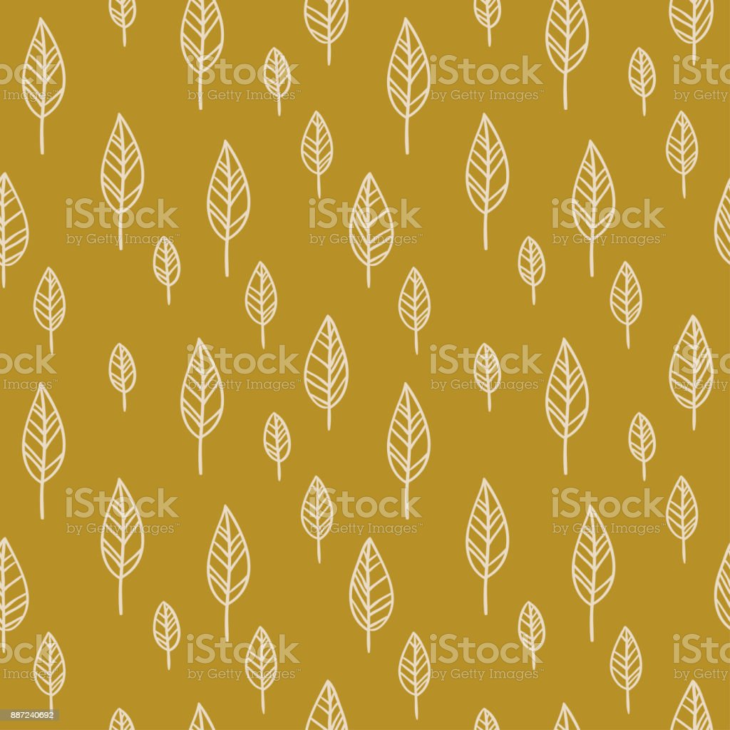 Ethnic abstract leaves on the gold background. Vector boho  seamless pattern. vector art illustration