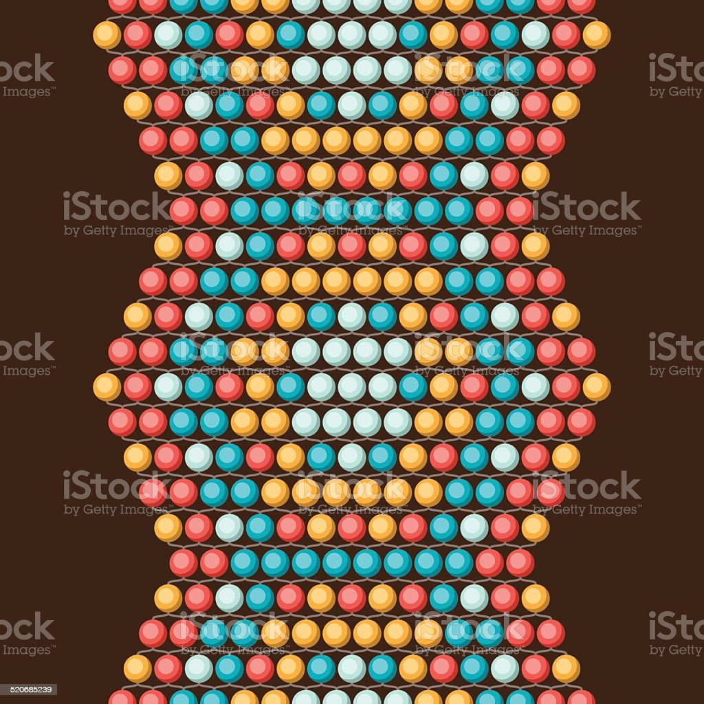 Ethnic african beads abstract color seamless pattern. vector art illustration