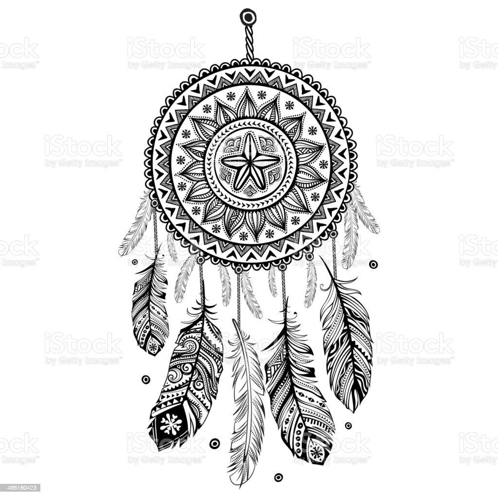 Ethnic American Indian Dream catcher vector art illustration