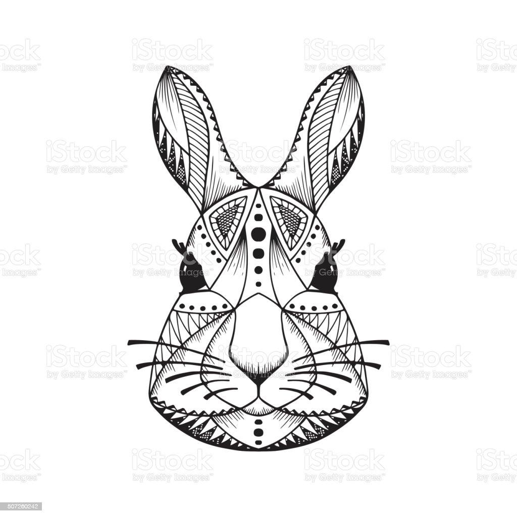 Ilustración de Étnica Animal Tribal Con Diseño Conejos Conejito ...
