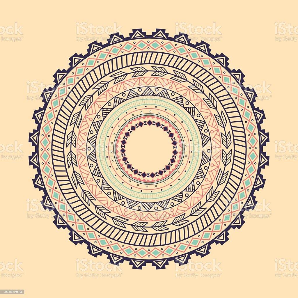 Ethnic Aztec circle ornament vector art illustration