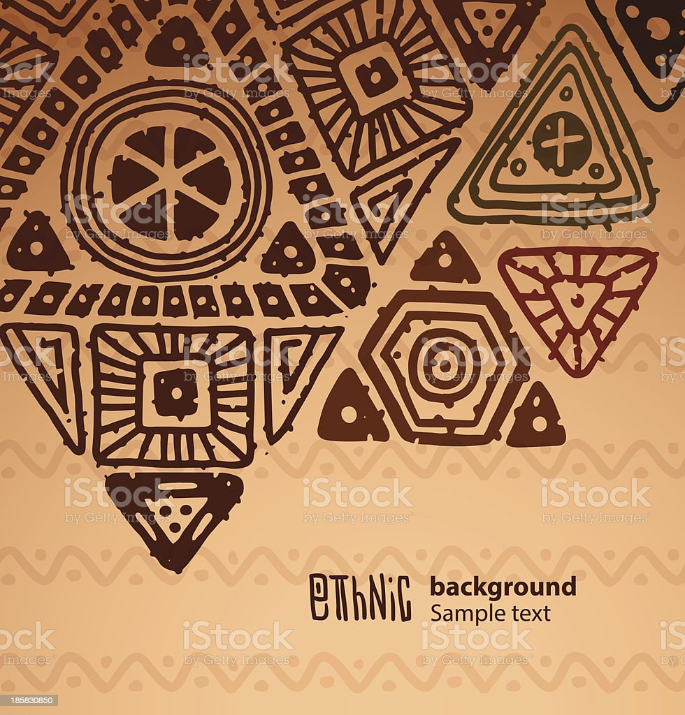 Ethnic background, big brown triangles vector art illustration