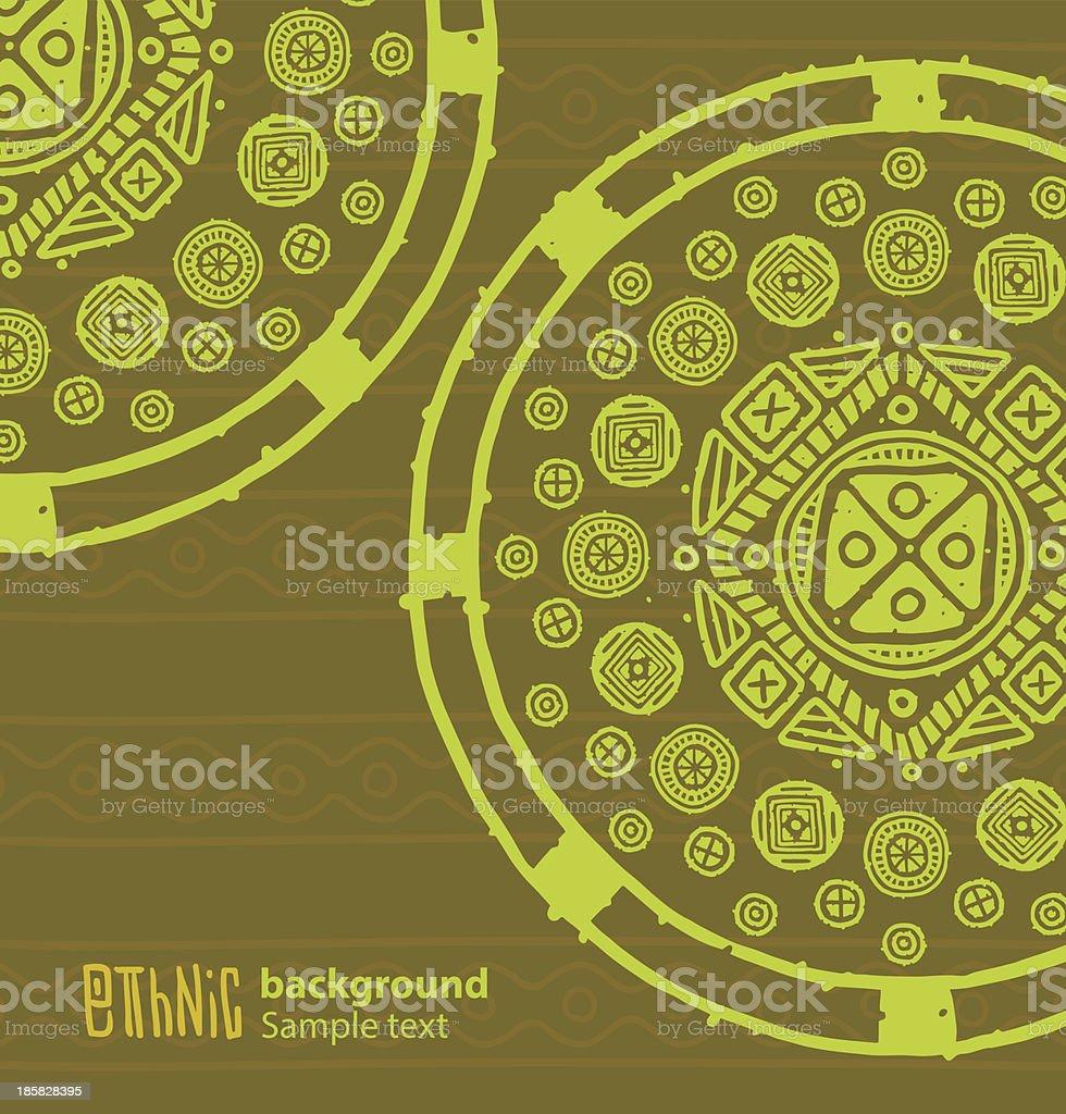 Ethnic background, big green circles royalty-free stock vector art