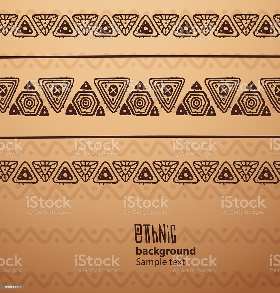 ethnic background, brown triangles in the top part vector art illustration