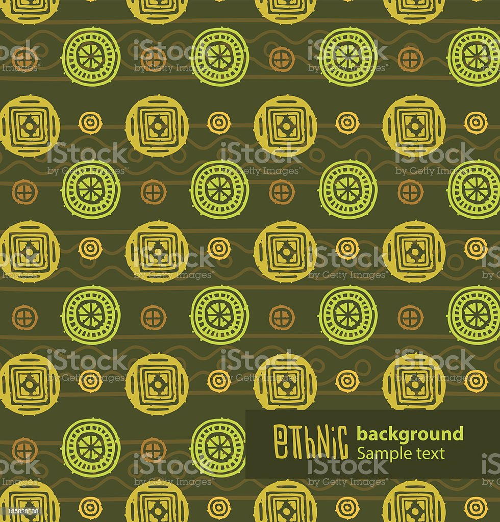 Ethnic background, green and yellow circles royalty-free stock vector art